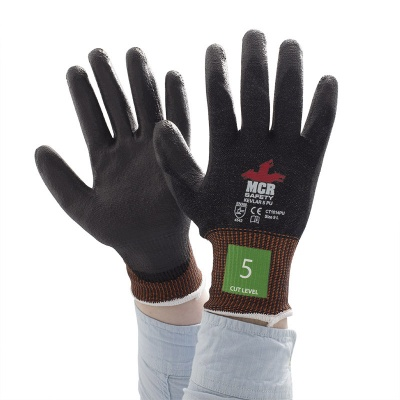 MCR Safety CT1014PU Cut-Resistant Kevlar PU-Coated Work Gloves