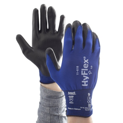 Ansell HyFlex 11-618 Light PU-Coated Black and Blue Gloves