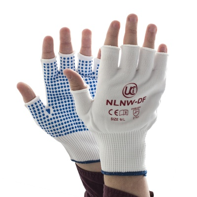 White Fingerless Low-Linting PVC-Dotted NLNW-DF Gloves