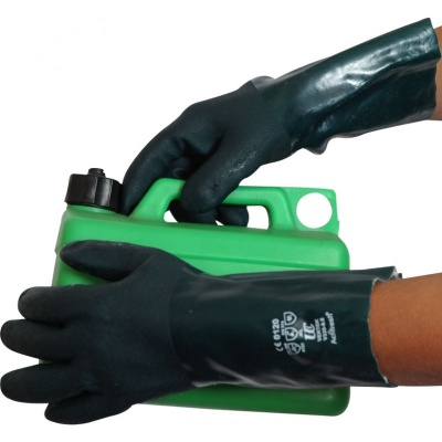 Green V335 Double-Dipped Chemical-Resistant PVC 14'' Gauntlets