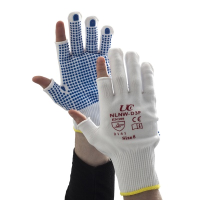 White Partially Fingerless Low-Linting Nylon PVC-Dotted NLNW-D3F Gloves