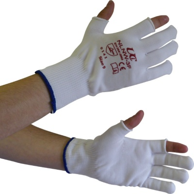 Partially Fingerless White Low-Linting Nylon NLNW-3F Gloves