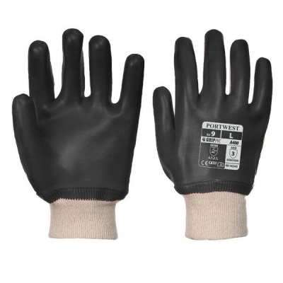 Portwest Black PVC Knit Wrist Gloves A400BK