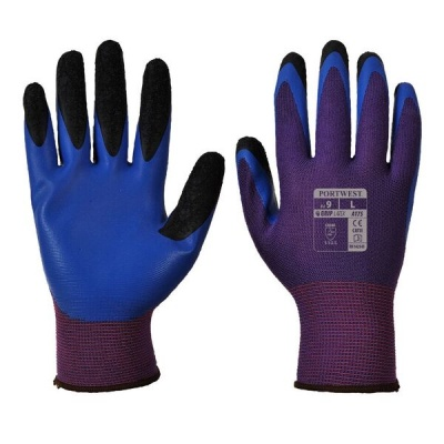 Portwest Duo-Flex Latex Handling Purple and Blue Gloves A175U4