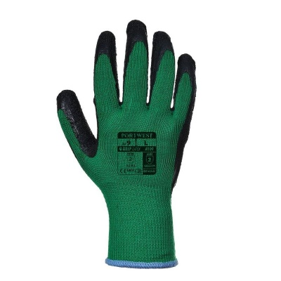 Portwest Green and Black Latex Grip Gloves A100E8