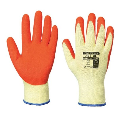 Portwest Orange Latex Grip Gloves A100OR