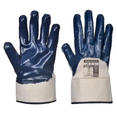 Portwest Nitrile 3/4 Dipped Safety Cuff Gloves A301