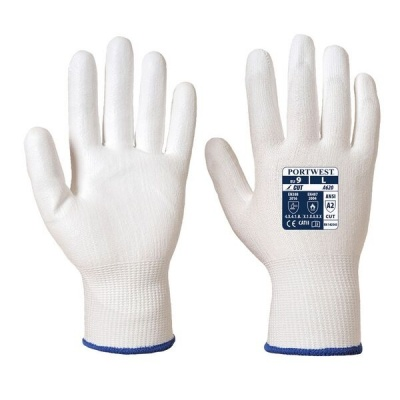 Portwest PU Palm Coated Cut-Resistant White Gloves A620W6