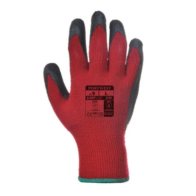 Portwest A100 Red and Black Latex Grip Gloves