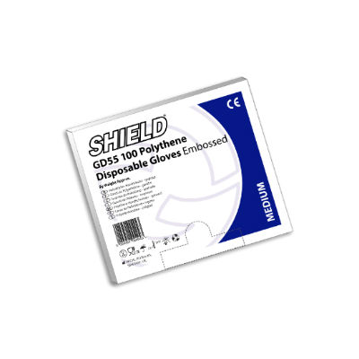 Shield GD55 Embossed Polythene Disposable Gloves (Pack of 100)