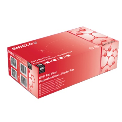 Shield2 GD17 Powder-Free Vinyl Red Disposable Gloves (Pack of 100)