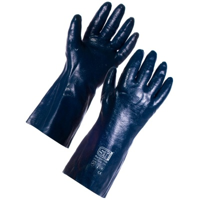 Supertouch 2261 Blue Grit Cotton Supported Nitrile Gloves - 35cm