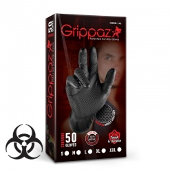 Grippaz Black Semi-Disposable Nitrile Grip Gloves (Pack of 50)