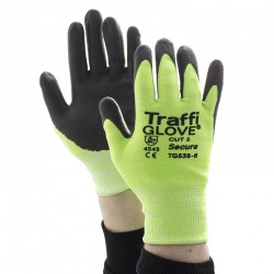 TraffiGlove TG535 Secure Nitrile Foam Plus Coating Cut Level 5 Safety Gloves
