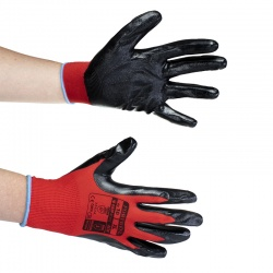 Portwest Red and Black Nitrile Flexo Grip Gloves A310R8R