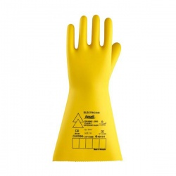 Ansell E021Y Electrician Class 1 Yellow Insulating Long Rubber Gauntlets