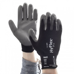 Ansell HyFlex 11-601 Palm-Coated Precision Grey and Black Work Gloves