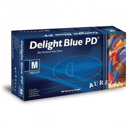 Aurelia Delight Blue PD Powdered Vinyl Gloves 38895-9