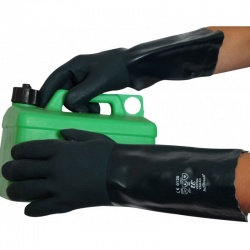 Green V340 Double-Dipped Chemical-Resistant PVC 16'' Gauntlets