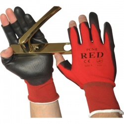 Partially Fingerless PU-Coated Precise Handling PCN-12-Red Gloves