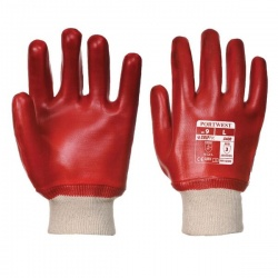 Portwest Red PVC Knit Wrist Gloves A400RE (Case of 144 Pairs)