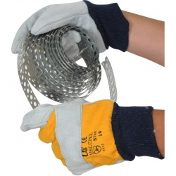 Premium Leather USCCFKL Rigger Handling Gloves with Yellow Drill Backing