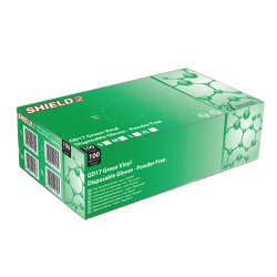 Shield2 GD17 Powder-Free Vinyl Green Disposable Gloves (Pack of 100)