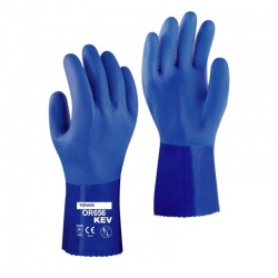 Towa PVC Coated 30cm Oil Resistant Kevlar Lined OR656KEV Gloves
