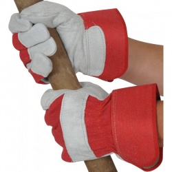 USUR Red Rigger Gloves with Leather Knuckle Protection