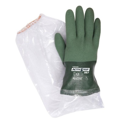 Towa ActivGrip 26cm Liquid Resistant 567 Gloves with PVC Sleeves