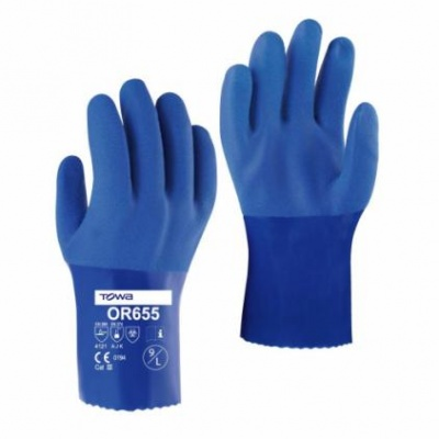 Towa PVC Coated 25cm Chemical Resistant OR655 Gloves