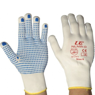 White Full Finger Low-Linting Nylon PVC-Dotted NLNW-D Gloves